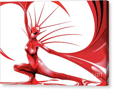Canvas Print featuring the drawing Red Angel by Brian Gibbs