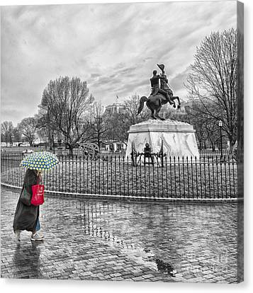 Red Bag Lafayette Park Canvas Print by Jim Moore
