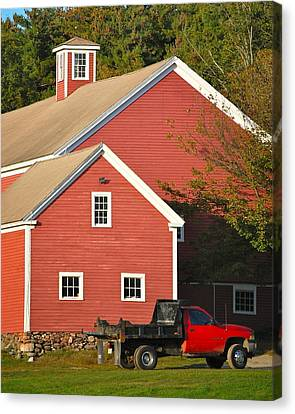 Red Barn - Red Truck Canvas Print by Mary McAvoy