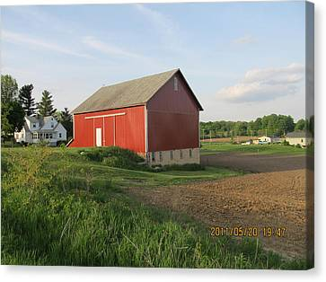 Canvas Print featuring the photograph Red Barn Four by Tina M Wenger
