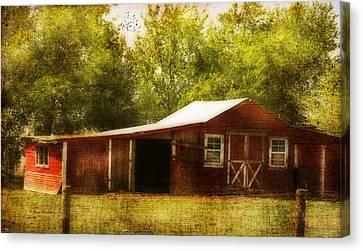 Canvas Print featuring the photograph Red Barn by Joan Bertucci