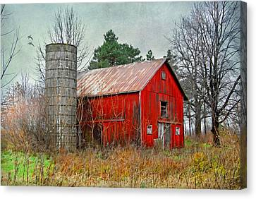Canvas Print featuring the photograph Red Barn by Mary Timman