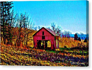Red Barn On A Hillside Canvas Print by Bill Cannon