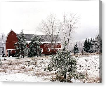 Michigan Red Barn Winter Scene Snow Landscape Canvas Print by Kathy Fornal