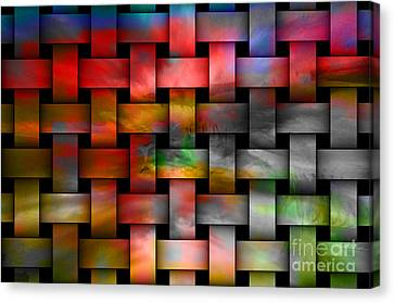 Red Basket Weave Abstract. Canvas Print by Emilio Lovisa