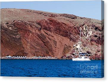 Canvas Print featuring the photograph Red Beach by Leslie Leda