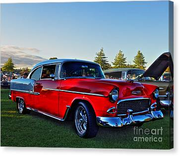 Red Chev Canvas Print - Red Bel Air by Larry Simanzik