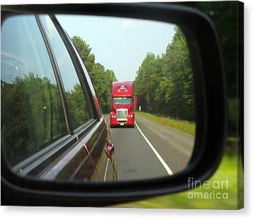 Red Big Truck Behind Canvas Print by Ausra Huntington nee Paulauskaite