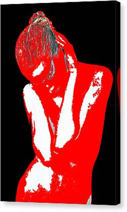 Red Black Drama Canvas Print by Naxart Studio