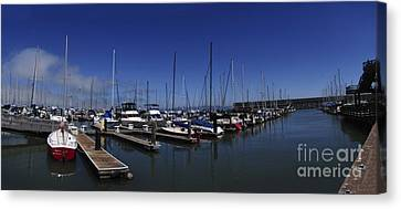 Canvas Print featuring the photograph Red Boat Panorama  by Sherry Davis