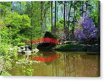 Canvas Print featuring the photograph Red Bridge by Bob Whitt
