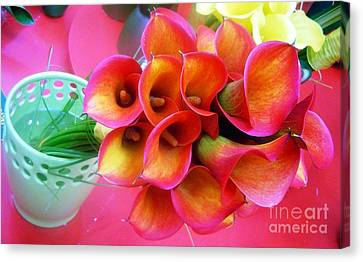 Red Calla Lilies Canvas Print by AmaS Art