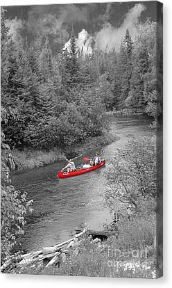 Red Canoe Canvas Print by Jim Wright