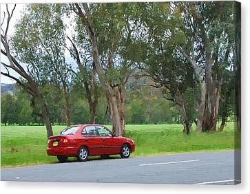Red Car In The Countryside Canvas Print