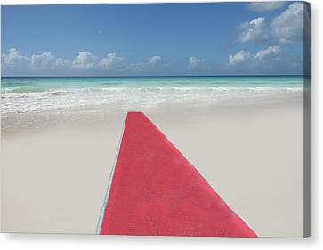 Red Carpet On A Beach Canvas Print by Buena Vista Images