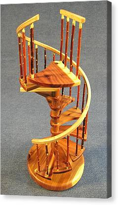 Red Cedar Rustic Spiral Stairs Canvas Print by Don Lorenzen