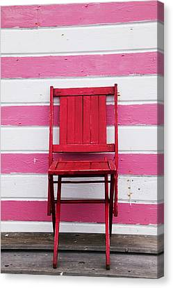 Red Chair And Pink Strips Canvas Print by Garry Gay