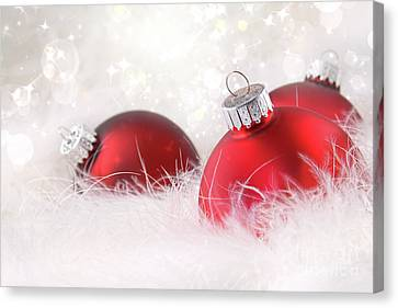 Red Christmas Balls In White Feathers  Canvas Print by Sandra Cunningham