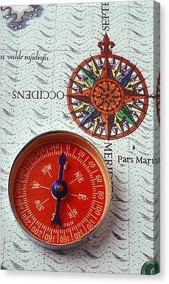 Red Compass And Rose Compass Canvas Print by Garry Gay