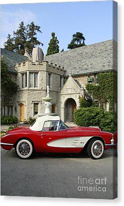 Red Corvette Outside The Playboy Mansion Canvas Print by Nina Prommer