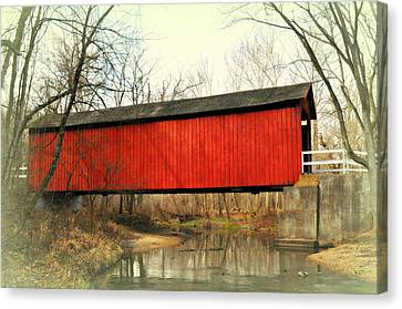 Red Covered Bridge Canvas Print by Marty Koch
