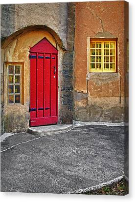 Red Door And Yellow Windows Canvas Print by Susan Candelario