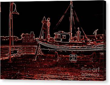 Red Electric Neon Boat On Sc Wharf Canvas Print by Garnett  Jaeger