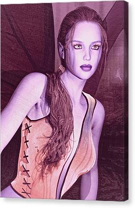 Canvas Print featuring the painting Red Fae by Maynard Ellis