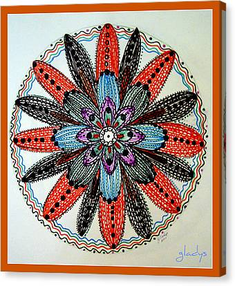 Red Flower Mandala  Canvas Print by Gladys Childers