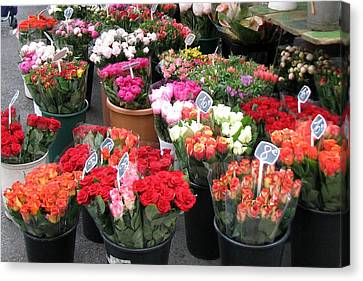 Canvas Print featuring the photograph Red Flowers In French Flower Market by Carla Parris