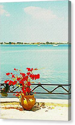 Red Flowers On The Bay Canvas Print by Joan McArthur