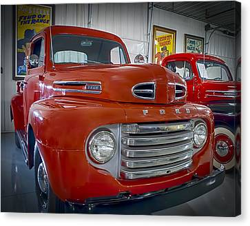Canvas Print featuring the photograph Red Ford Pickup by Steve Benefiel