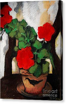 Geranium Canvas Print - Red Geranium by Mona Edulesco