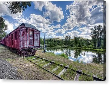 Rail Siding Canvas Print - Red Ghost Town Train - Montana by Daniel Hagerman