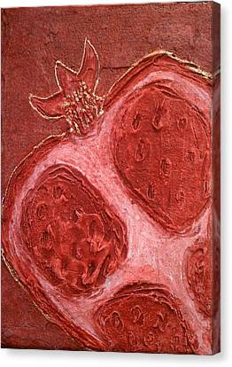 Canvas Print featuring the painting Red Gold Juicy Thick Textured Cut Pomegranate With Seeds by M Zimmerman