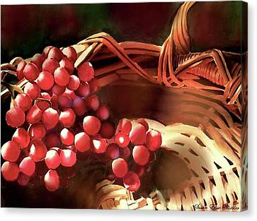 Canvas Print featuring the painting Red Grapes by Susan Elise Shiebler