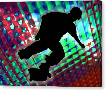 Red Green And Blue Abstract Boxes Skateboarder Canvas Print by Elaine Plesser