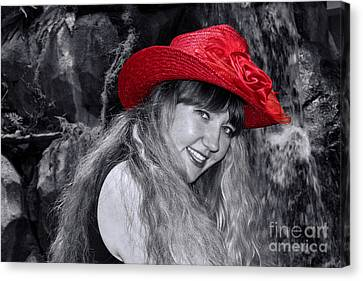 Red Hat And A Blonde Black And White Canvas Print by Mariola Bitner