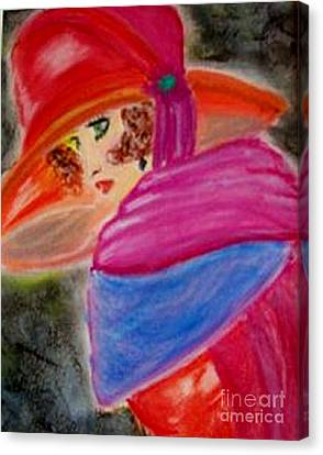Canvas Print featuring the painting Red Hat by Lori  Lovetere