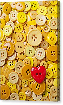 Red Heart And Yellow Buttons Canvas Print by Garry Gay