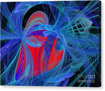 Red Heart Blue Lace Canvas Print by Andee Design