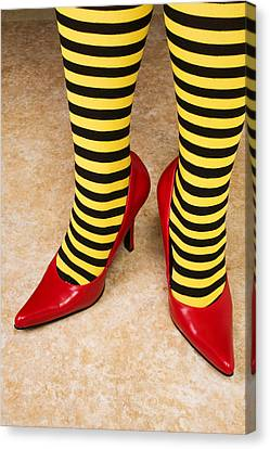 Red High Heels Andstockings Canvas Print by Garry Gay