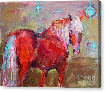 Horse Lover Canvas Print - Red Horse Contemporary Painting by Svetlana Novikova