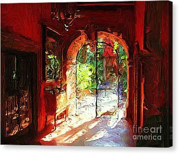 Canvas Print featuring the digital art Red Hotel Lobby by John  Kolenberg
