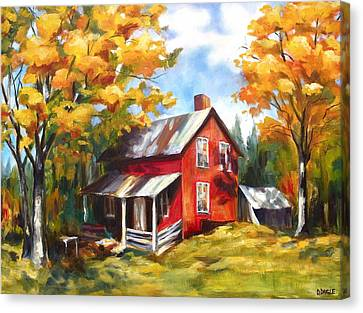 Red House In Autumn Canvas Print by Diane Daigle