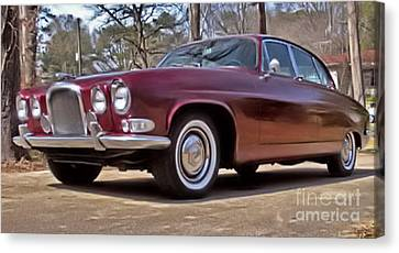Canvas Print featuring the photograph Red Jaguar 1966 by Elizabeth Coats