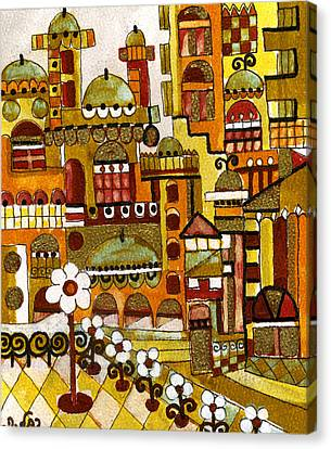 Red Kasba Skyline Landscape Art Of Old Town Dome And Minarett Decorated With Flower Arch In Orange Canvas Print by Rachel Hershkovitz