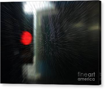 Canvas Print featuring the photograph Red Light In The Car Wash Blurred by Nareeta Martin