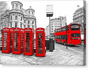 Canvas Print featuring the photograph Red London by Luciano Mortula