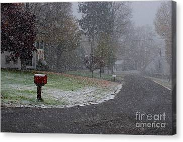 Red Mailbox In Autumn Snow Canvas Print by Andrea Simon